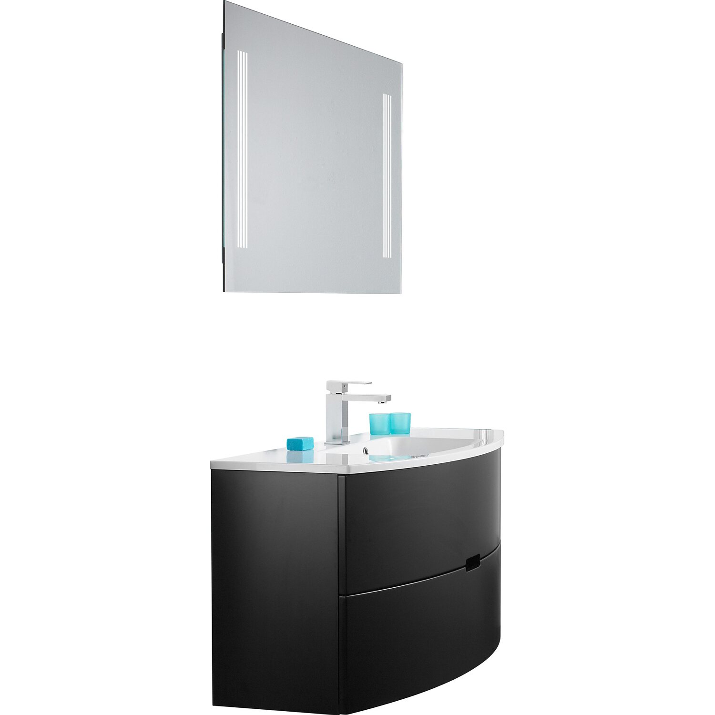 scanbad badm bel set 120 cm mit spiegelpaneel modern schwarz matt 3 teilig kaufen bei obi. Black Bedroom Furniture Sets. Home Design Ideas