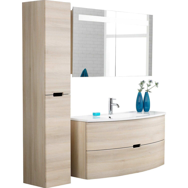 scanbad badm bel set 120 cm mit spiegelschrank 2 t rig modern sand 3 teilig kaufen bei obi. Black Bedroom Furniture Sets. Home Design Ideas