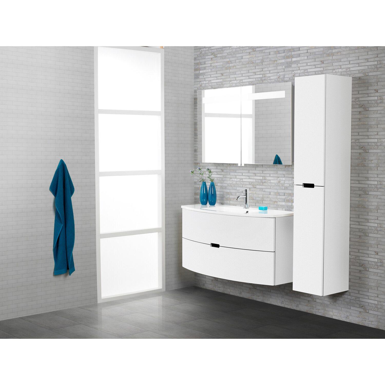 scanbad badm bel set 120 cm mit spiegelschrank 2 t rig modern wei hochglanz kaufen bei obi. Black Bedroom Furniture Sets. Home Design Ideas
