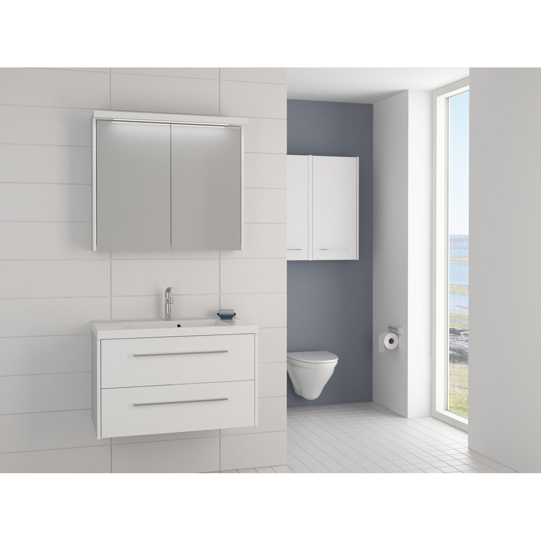 scanbad badm bel set 80 cm mit spiegelpaneel fox wei matt 3 teilig kaufen bei obi. Black Bedroom Furniture Sets. Home Design Ideas