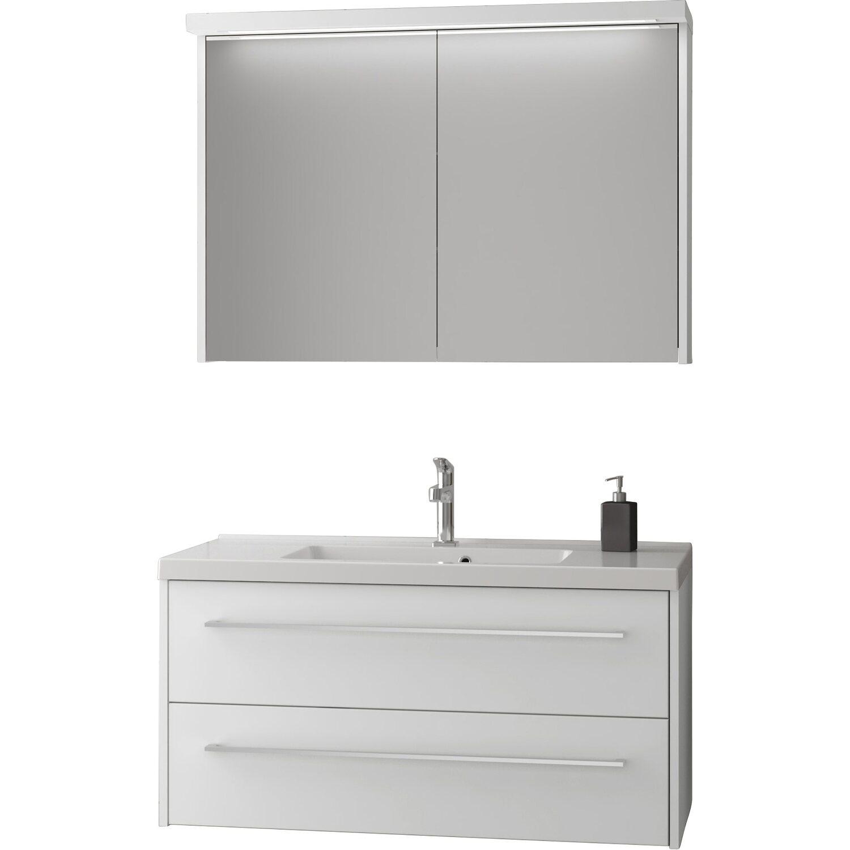 scanbad badm bel set 80 cm mit spiegelschrank fox wei matt 3 teilig kaufen bei obi. Black Bedroom Furniture Sets. Home Design Ideas