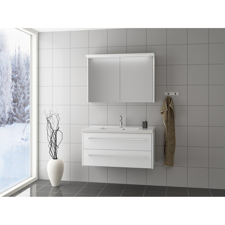 Scanbad Badmöbel-Set 80 cm mit Spiegelschrank Fox Weiß matt 3-teilig ...