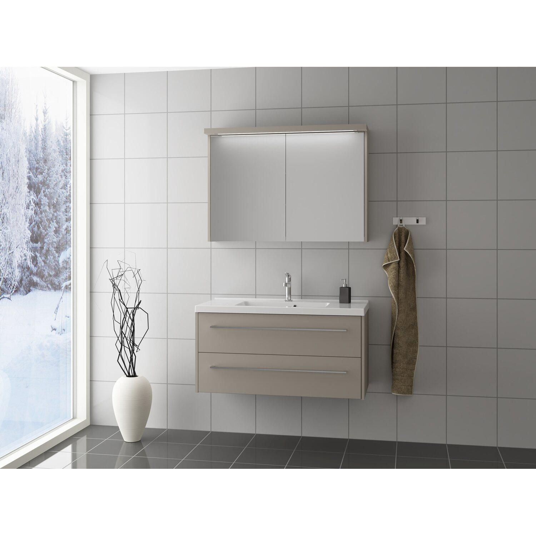 Scanbad Badmöbel-Set 80 cm mit Spiegelschrank Fox Vanilla Grey 3-teilig