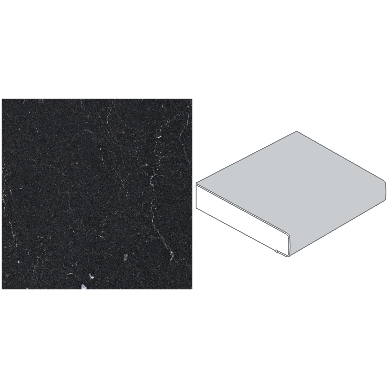 Arbeitsplatte 60 cm x 3 9 cm kaviar grau marmor marquina for Arbeitsplatte granit grau