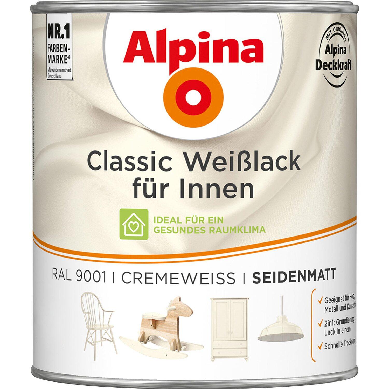 Alpina  Classic Weißlack für Innen Creme seidenmatt 750 ml