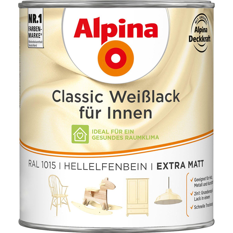 Alpina  Classic Weißlack für Innen Hellelfenbein matt 750 ml