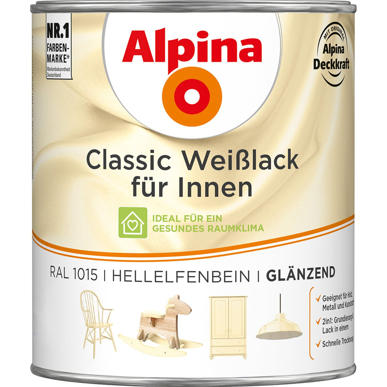 Alpina  Classic Weißlack für Innen Hellelfenbein glänzend 750 ml