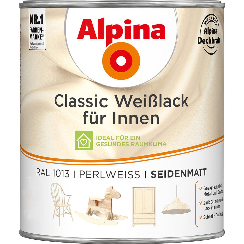 Alpina  Classic Weißlack für Innen Perlweiß seidenmatt 750 ml