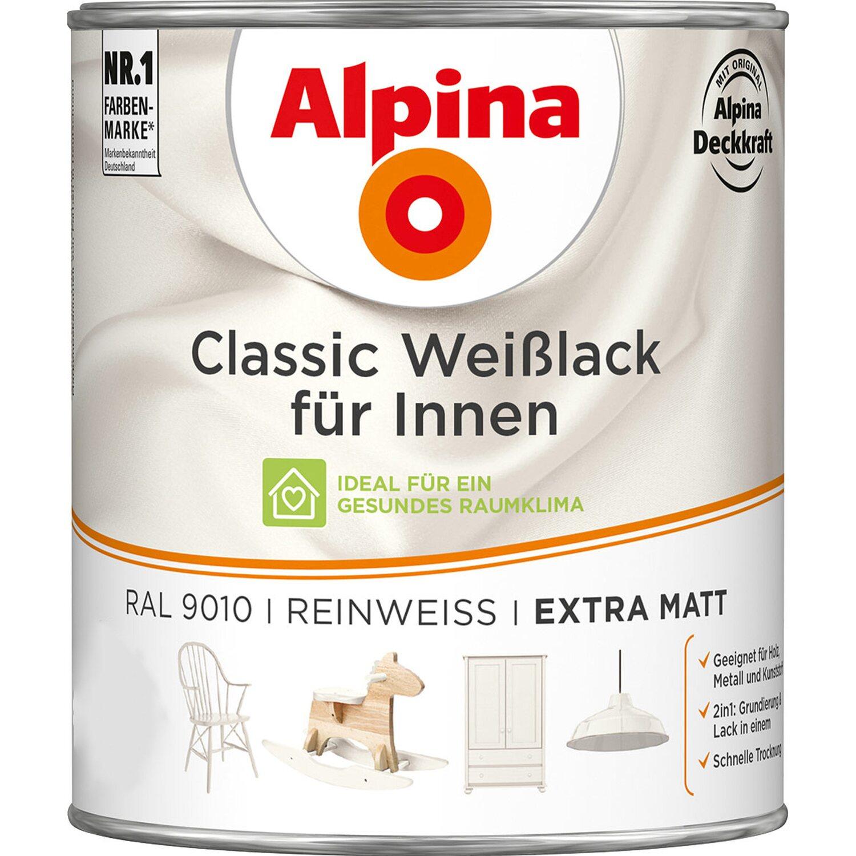 Alpina  Classic Weißlack für Innen Reinweiß matt 750 ml