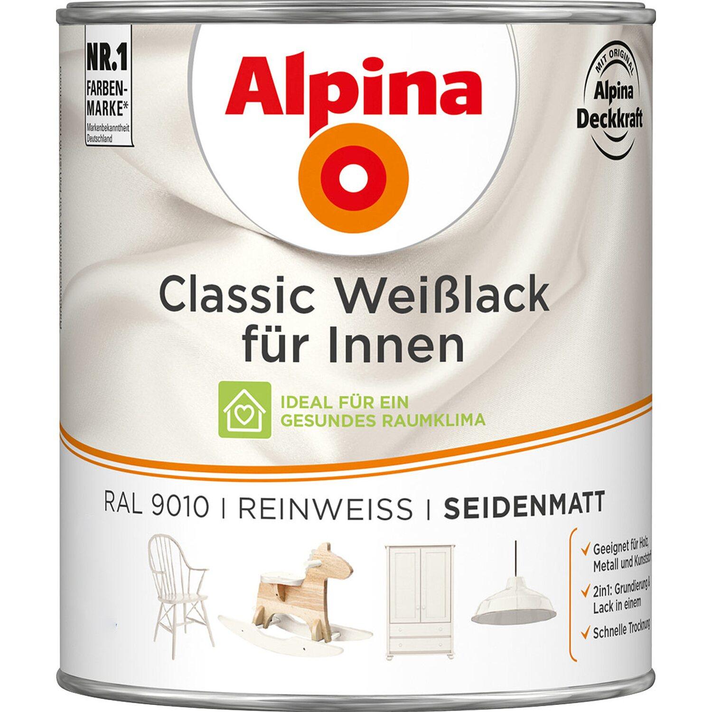 Alpina  Classic Weißlack für Innen Reinweiß seidenmatt 750 ml