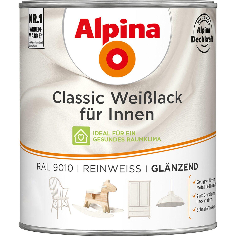 Alpina  Classic Weißlack für Innen Reinweiß glänzend 750 ml