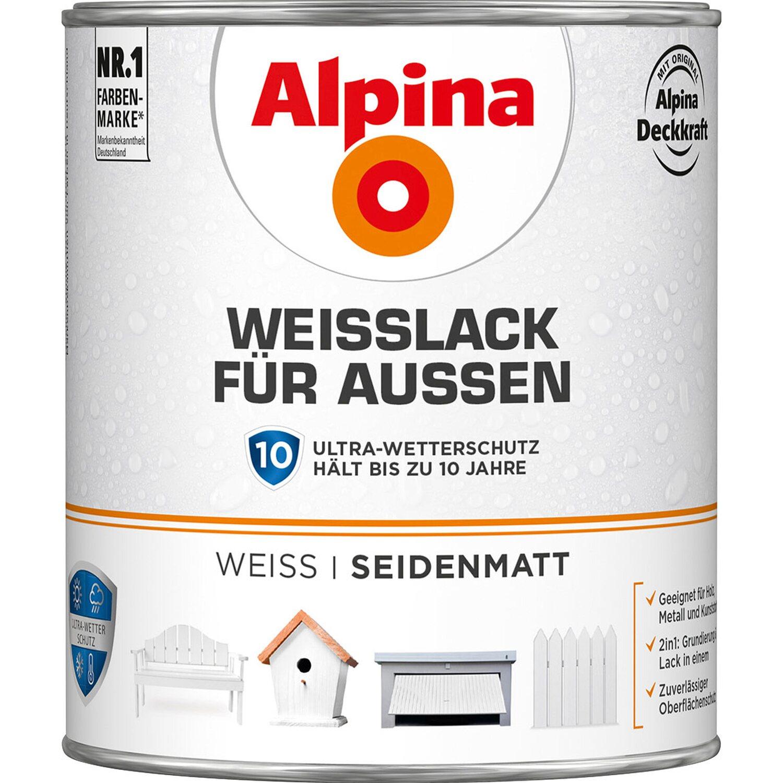 Alpina  Weißlack für Außen seidenmatt 750 ml