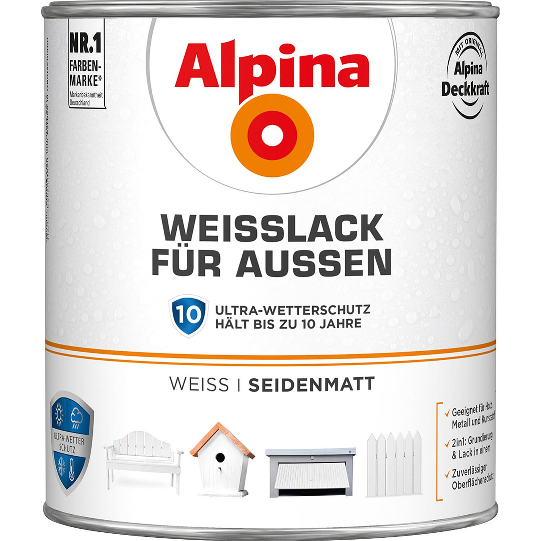 Alpina  Weißlack für Außen seidenmatt 2 l
