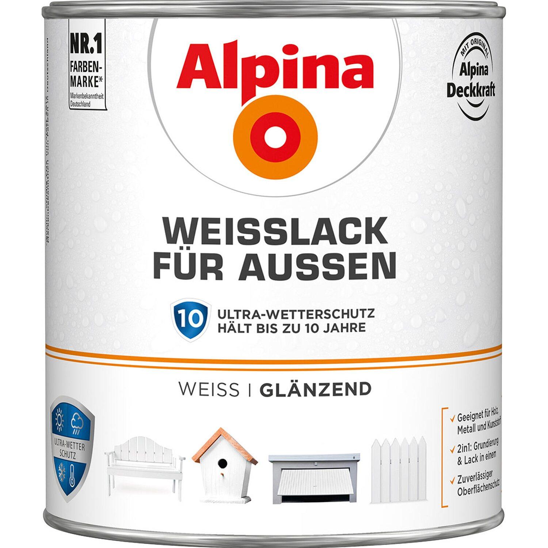 Alpina  Weißlack für Außen glänzend 2 l
