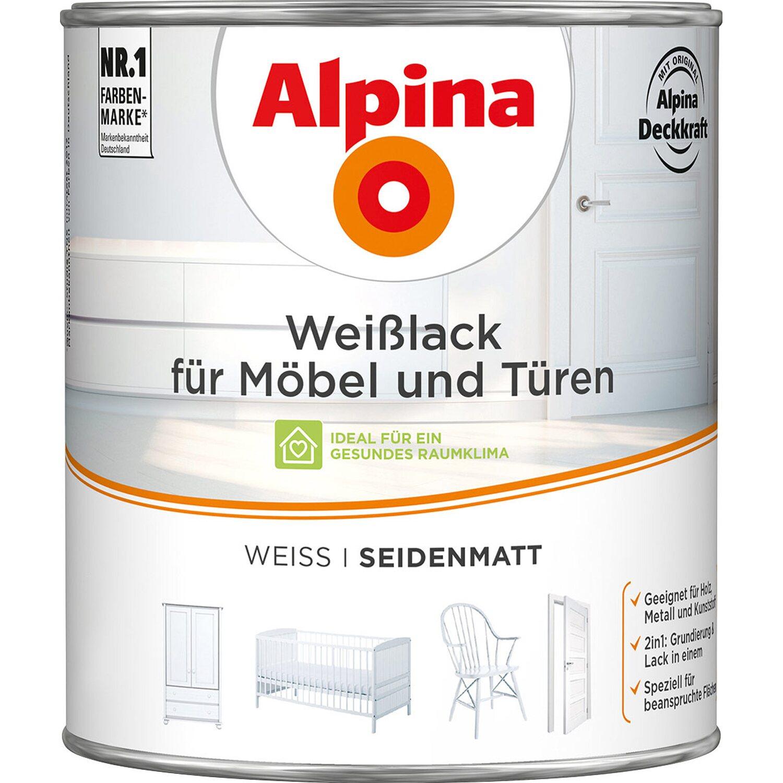 Alpina  Weißlack für Möbel & Türen seidenmatt 2 l