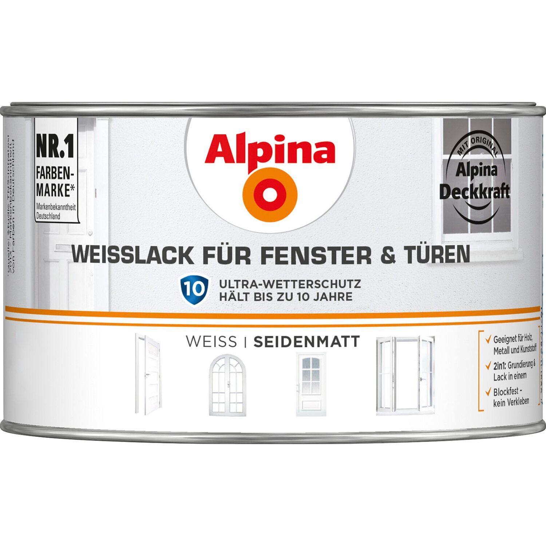 Alpina  Weißlack für Fenster & Türen seidenmatt 300 ml