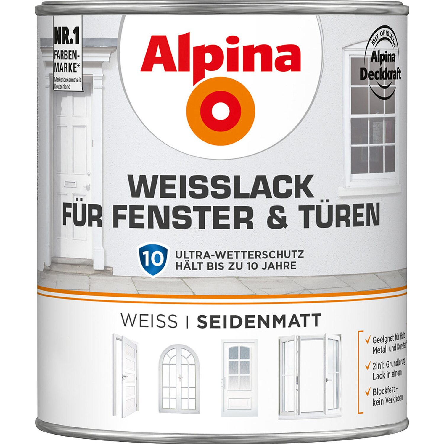 alpina wei lack f r fenster t ren seidenmatt 750 ml kaufen bei obi. Black Bedroom Furniture Sets. Home Design Ideas