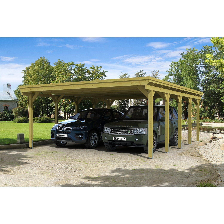 Skan Holz Flachdach-Doppelcarport Holstein 558 cm x 707 cm | Baumarkt > Garagen und Carports > Carports | Skan Holz