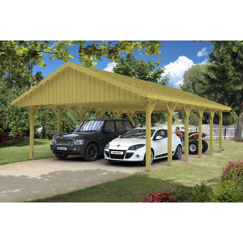 Skan Holz Satteldach-Doppelcarport Sauerland BxT 620 x 900 cm mit ...