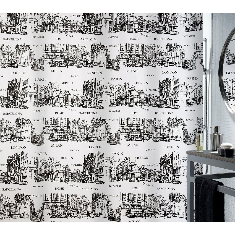 Spirella Duschvorhang Textil Places Black 180 Cm X 200 Cm Kaufen Bei Obi