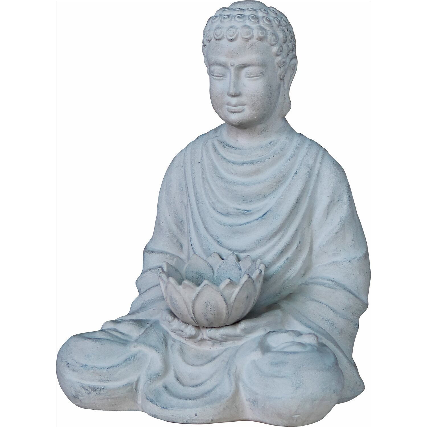 deko figur buddha mit lotusbl te 40 cm grau kaufen bei obi. Black Bedroom Furniture Sets. Home Design Ideas