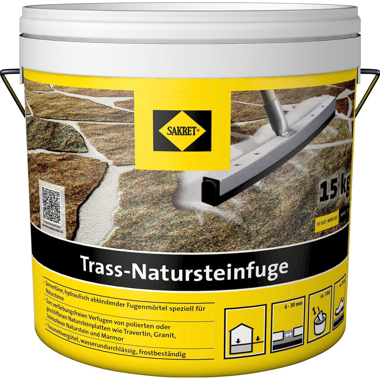 Sakret Trass-Natursteinfuge Grau 15 kg Eimer