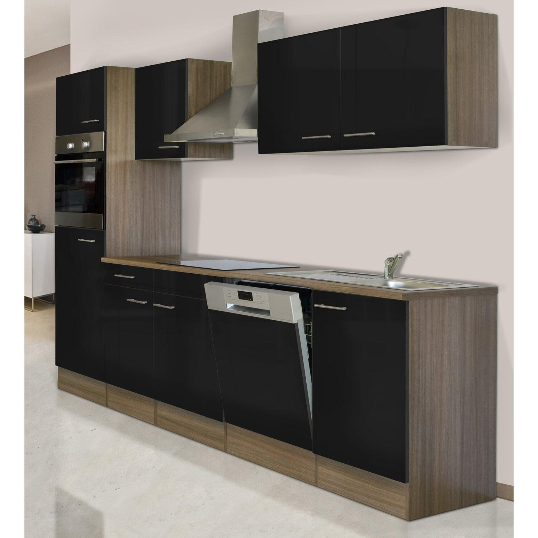 Respekta Küchenzeile KB280EYS 280 cm Schwarz-Eiche York Nachbildung ...