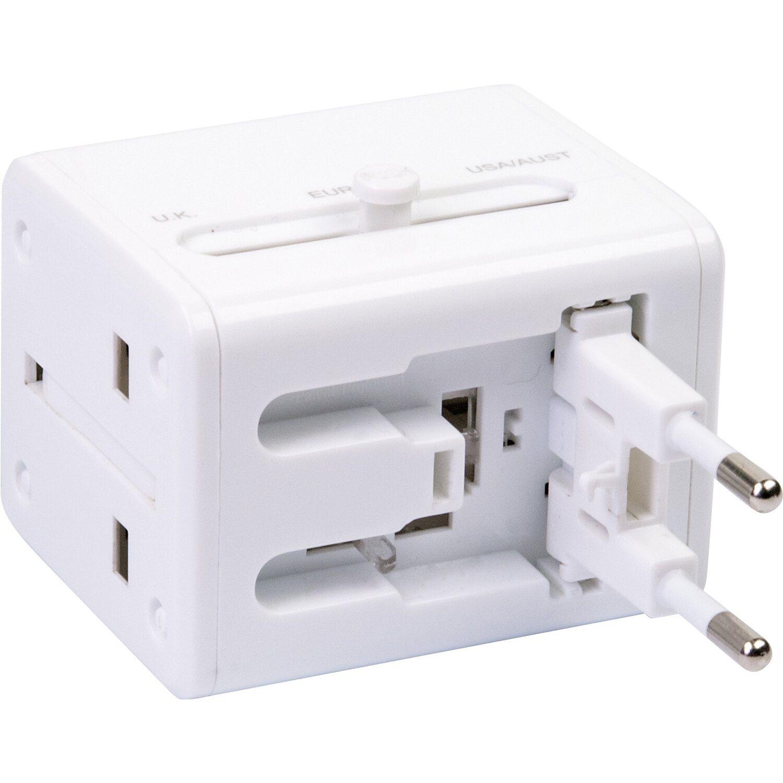 Schwaiger Reiseadapter mit USB Weiß
