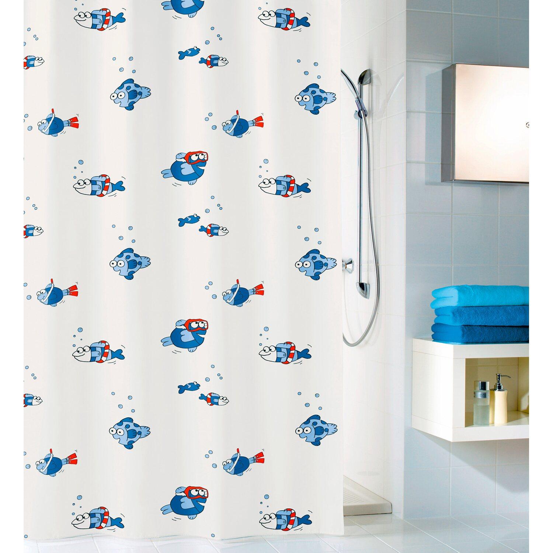 obi duschvorhang freddy deco line 180 cm x 200 cm blau. Black Bedroom Furniture Sets. Home Design Ideas
