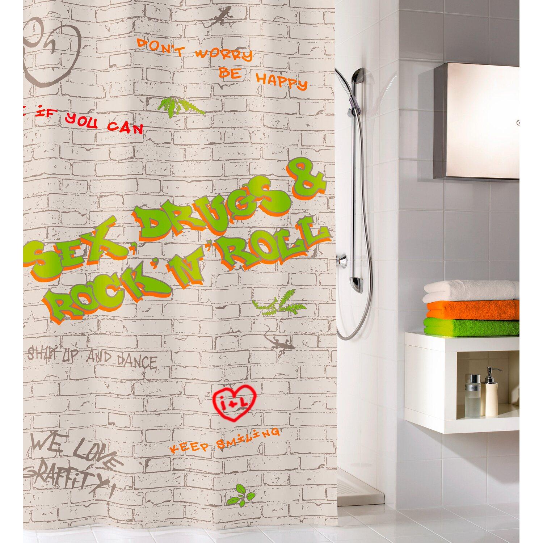 obi duschvorhang graffiti dl 180 cm x 200 cm multicolor. Black Bedroom Furniture Sets. Home Design Ideas