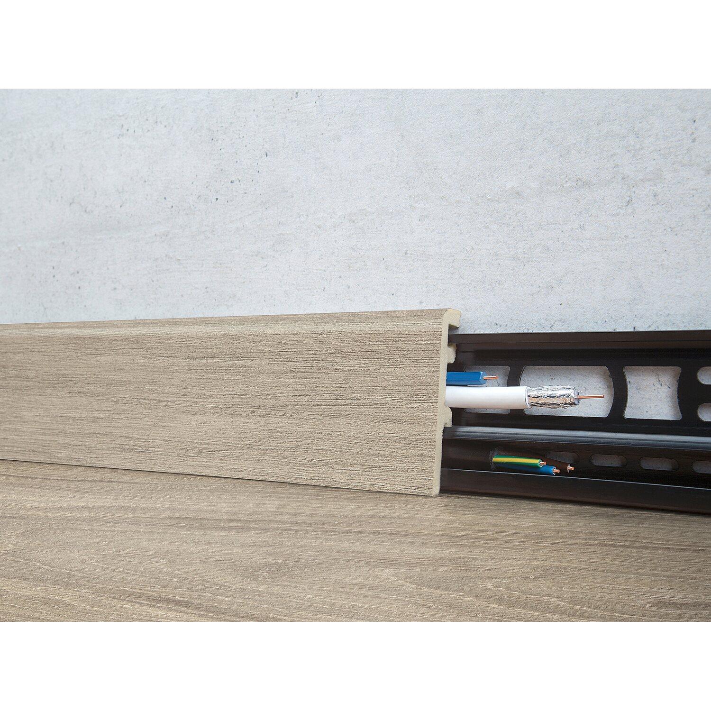 Floorever Spa Sockelleiste  Columbus mit Schiene 21 x 60 mm Länge 2400 mm
