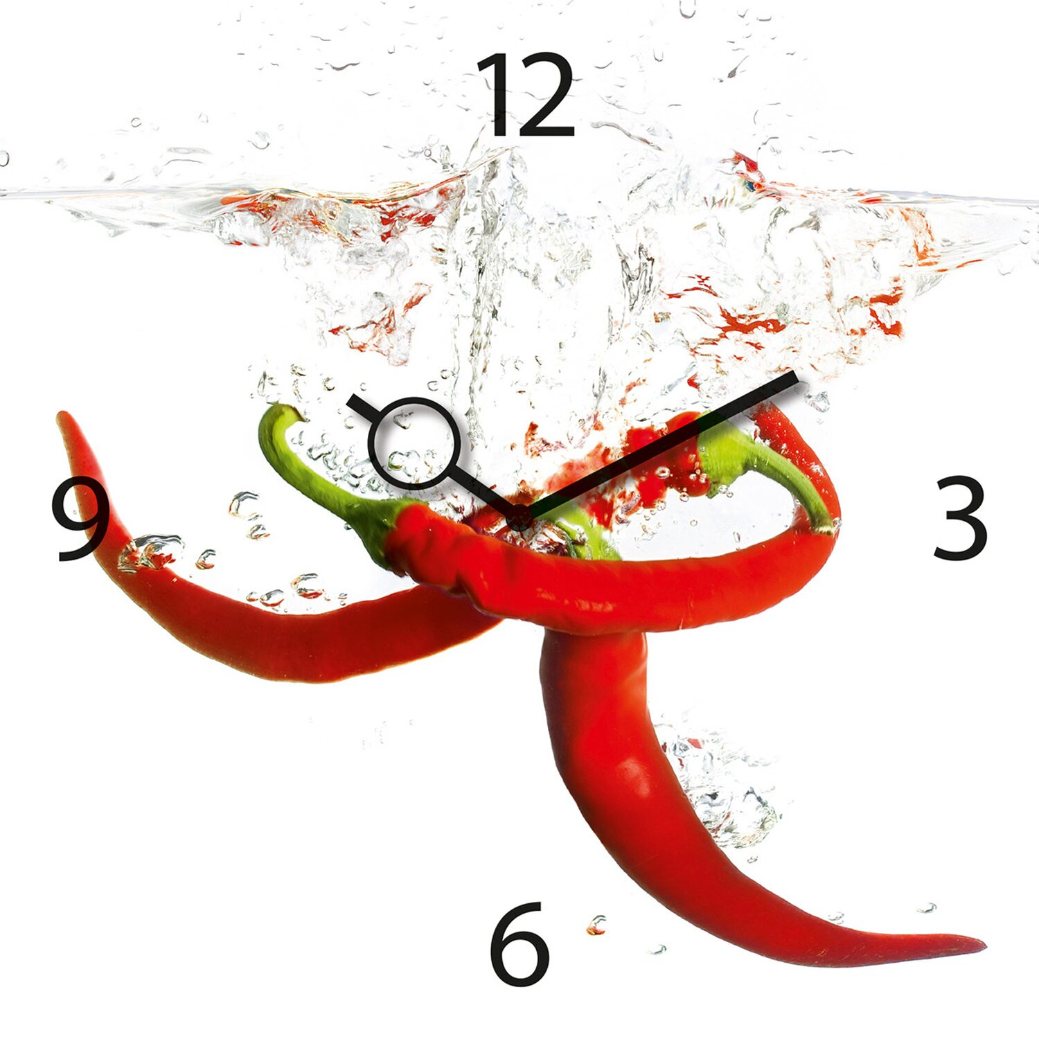 Eurographics wanduhr time art splashing chili pepper 30 cm - Eurographics wanduhr ...