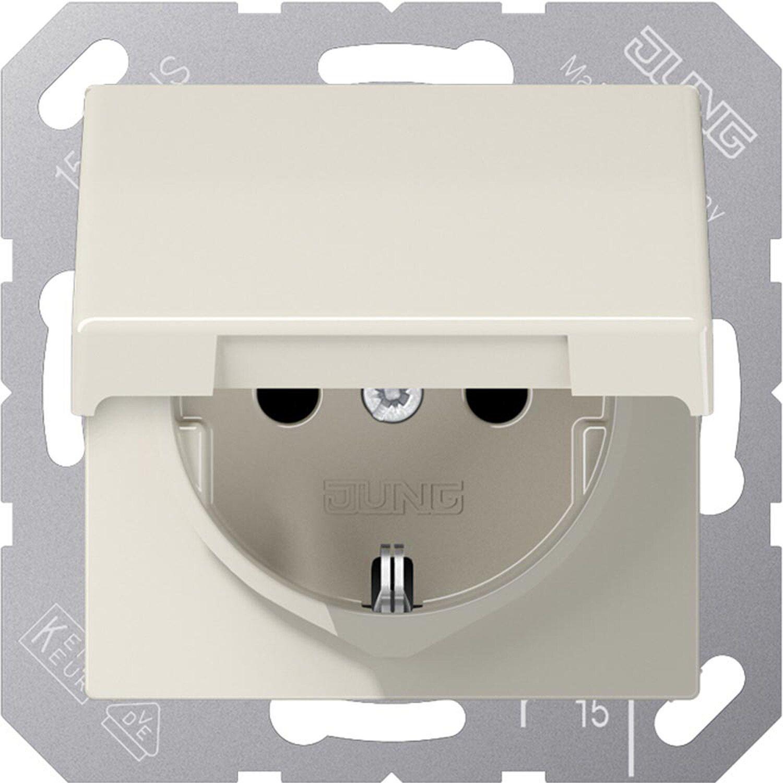 Jung Steckdose mit Klappdeckel und Kindersicherung AS500 Weiß | Kinderzimmer > Textilien für Kinder > Kinderbettwäsche | Jung