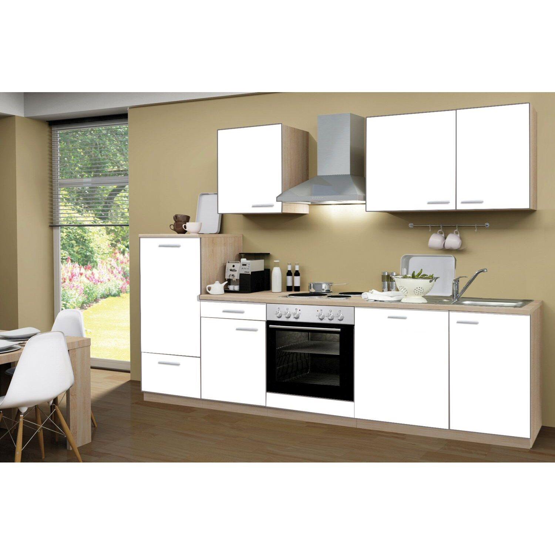 menke k chenzeile classic 280 cm wei melamin sonoma eiche nachbildung kaufen bei obi. Black Bedroom Furniture Sets. Home Design Ideas