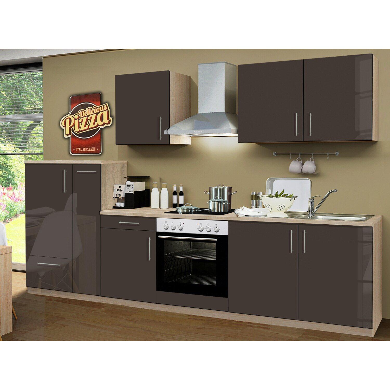 menke k chenzeile premium 300 cm lava hochglanz sonoma eiche nachbildung kaufen bei obi. Black Bedroom Furniture Sets. Home Design Ideas