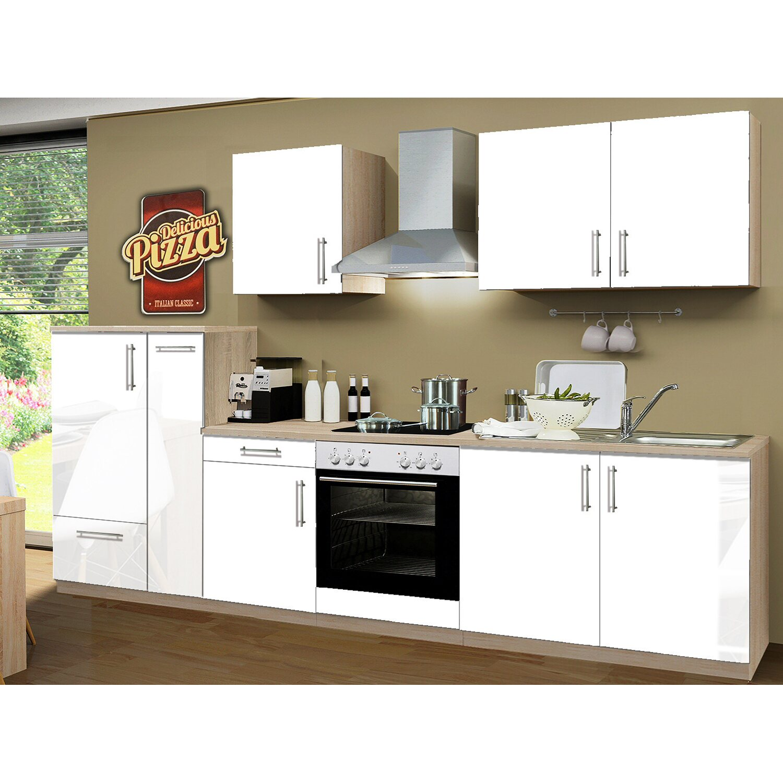 Küchenzeile Weiß menke küchenzeile premium 300 cm weiß hochglanz sonoma eiche
