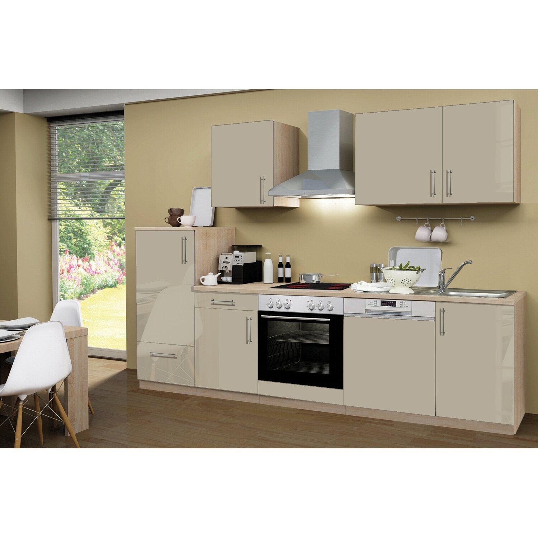 Menke Küchenzeile Premium 280 cm Sahara Hochglanz-Sonoma Eiche ...