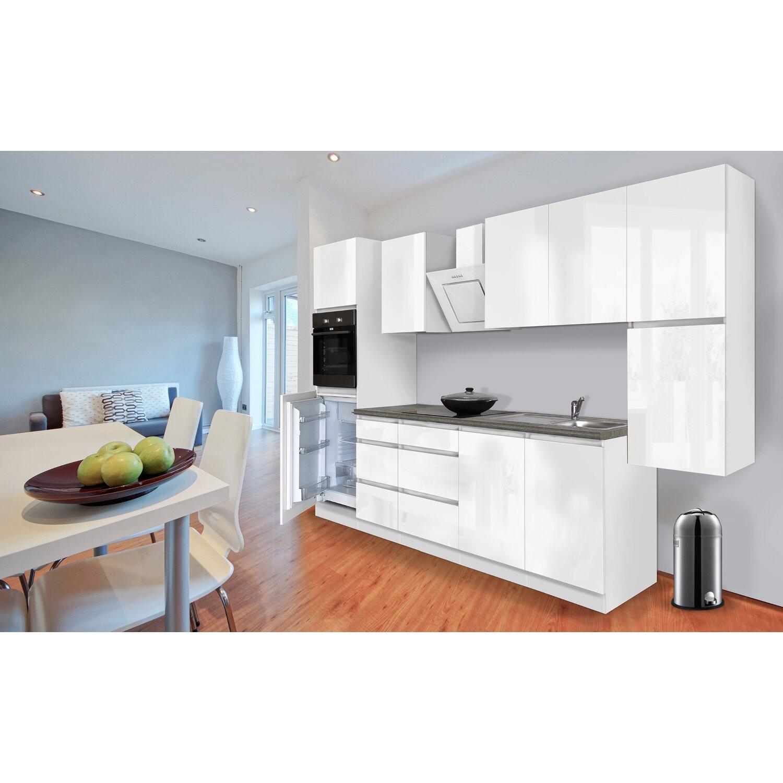 respekta k chenzeile ohne e ger te 320 cm wei hochglanz kaufen bei obi. Black Bedroom Furniture Sets. Home Design Ideas