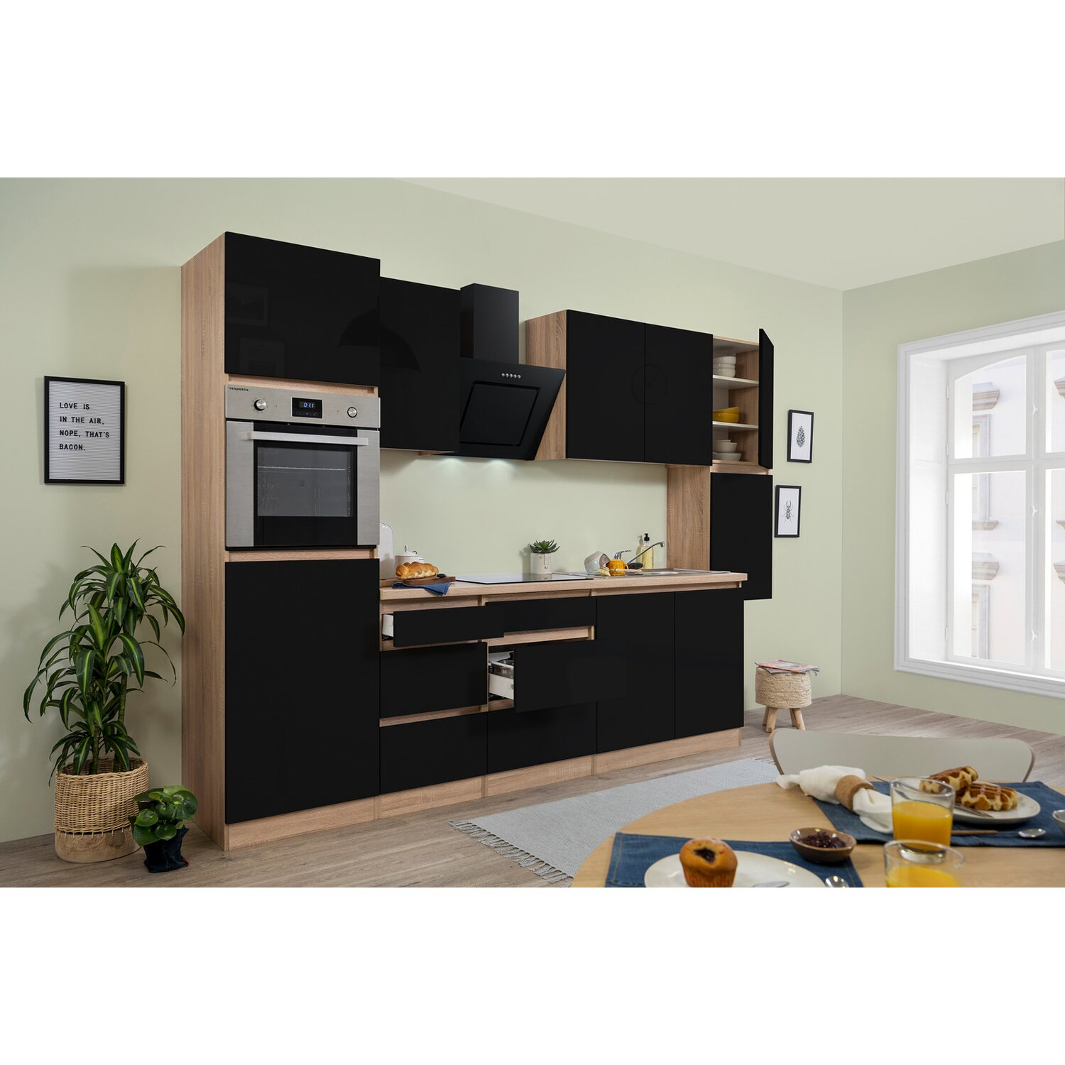 respekta k chenzeile glrp320hess grifflos 320 cm schwarz hochglanz sonoma eiche kaufen bei obi. Black Bedroom Furniture Sets. Home Design Ideas