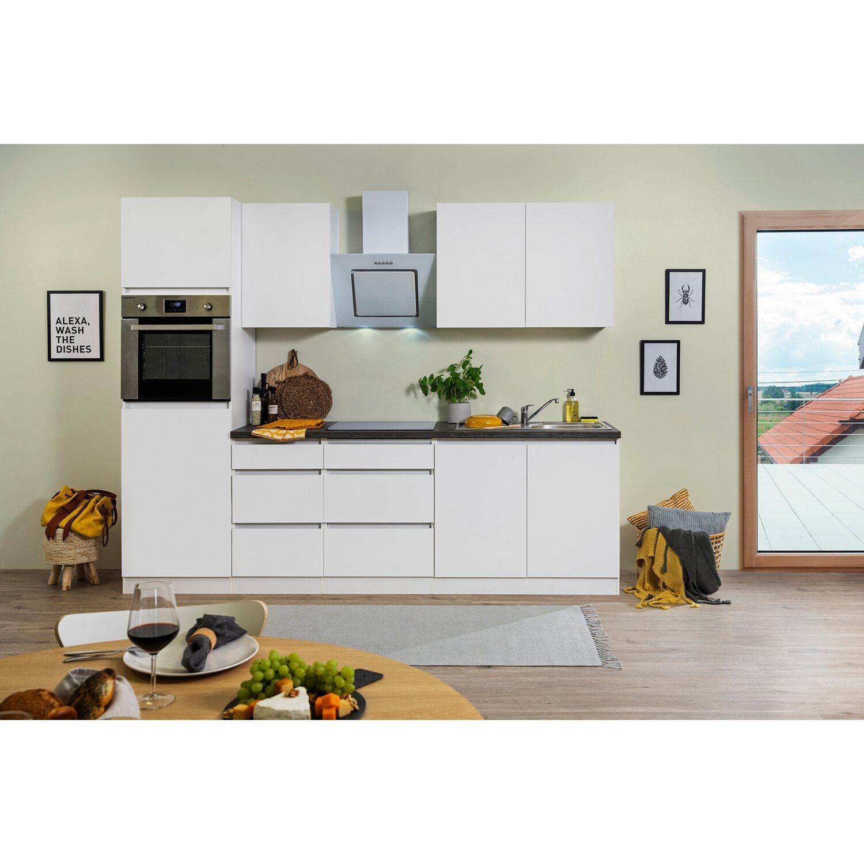 Respekta Küchenzeile GLRP270HWWM Grifflos 270 cm Weiß matt kaufen ...