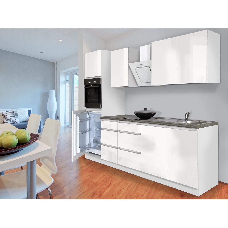 Respekta Küchenzeile GLRP20HWW Grifflos 20 cm Weiß Hochglanz