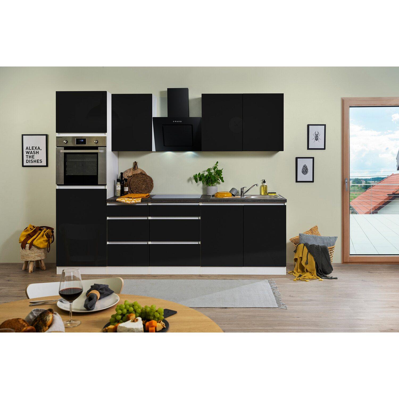 Respekta Küchenzeile GLRP270HWS Grifflos 270 cm Schwarz Hochglanz-Weiß