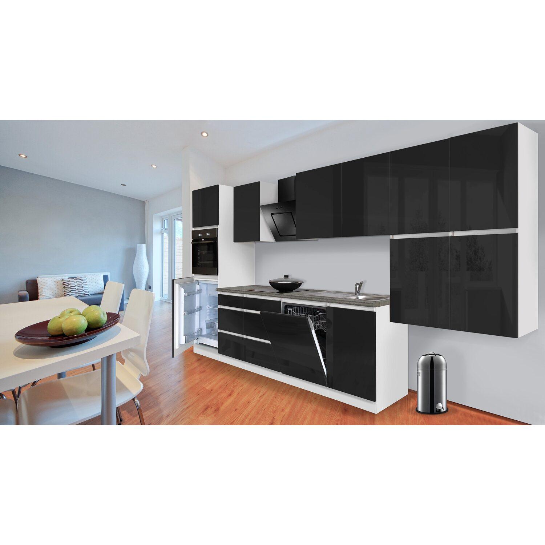 respekta k chenzeile ohne e ger te 380 cm schwarz hochglanz wei kaufen bei obi. Black Bedroom Furniture Sets. Home Design Ideas