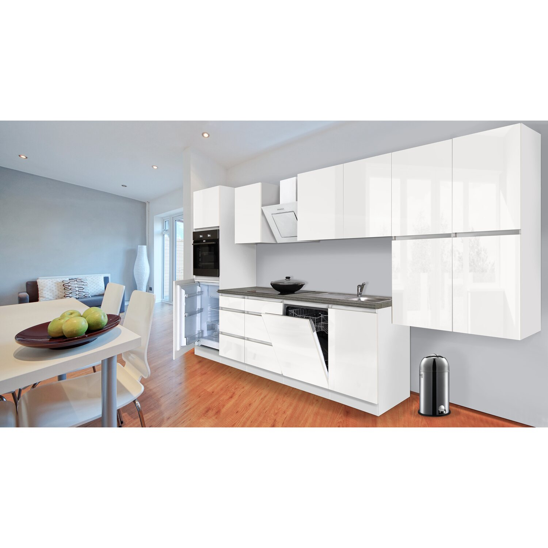 Respekta Küchenzeile GLRP380HWW Grifflos 380 cm Weiß Hochglanz