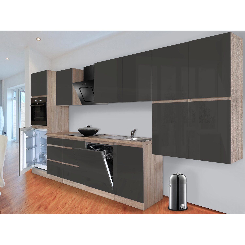 respekta k chenzeile glrp380hesg grifflos 380 cm grau hochglanz sonoma eiche kaufen bei obi. Black Bedroom Furniture Sets. Home Design Ideas