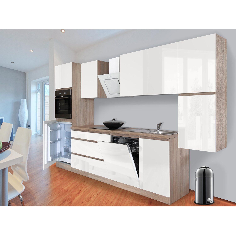 Respekta Küchenzeile GLRP330HESW Grifflos 330 cm Weiß Hochglanz ...