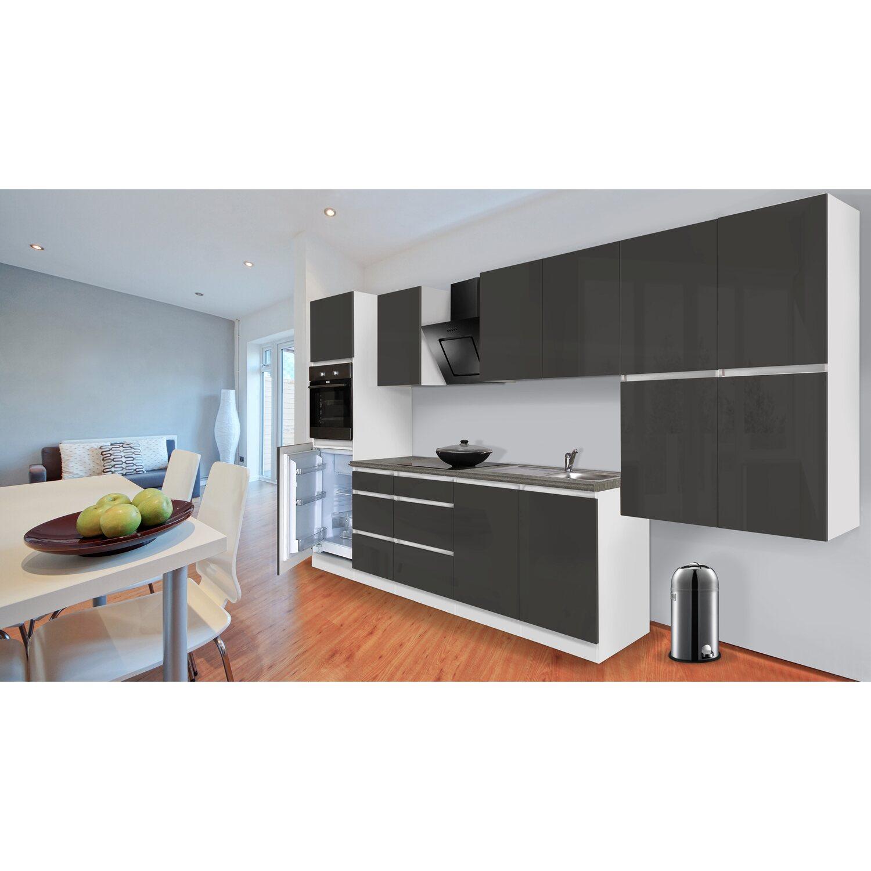 Respekta Küchenzeile ohne E-Geräte 370 cm Grau Hochglanz-Weiß ...