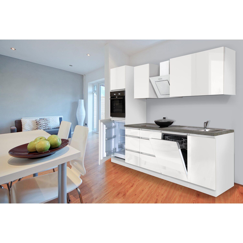 Respekta Küchenzeile ohne E-Geräte 280 cm Weiß Hochglanz kaufen bei OBI