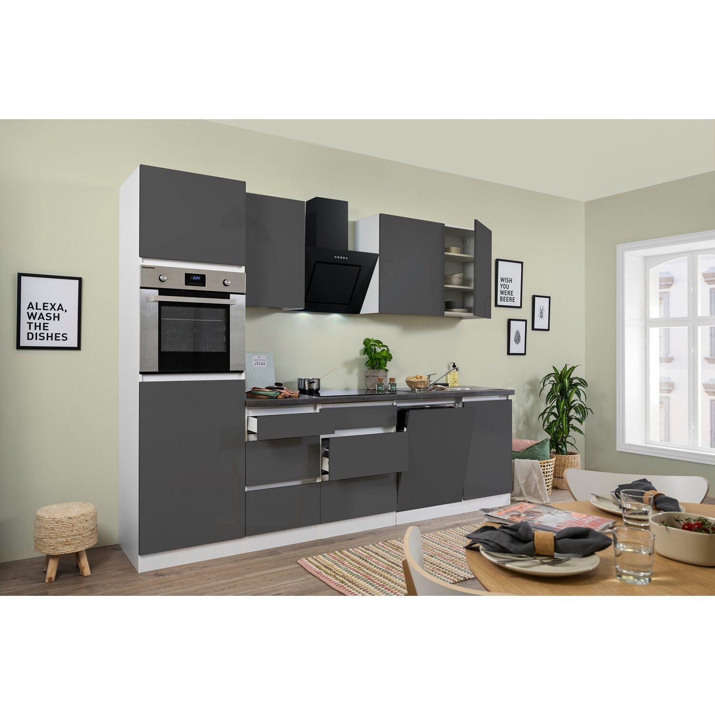 Respekta Küchenzeile GLRP280HWG Grifflos 280 cm Grau Hochglanz-Weiß ...