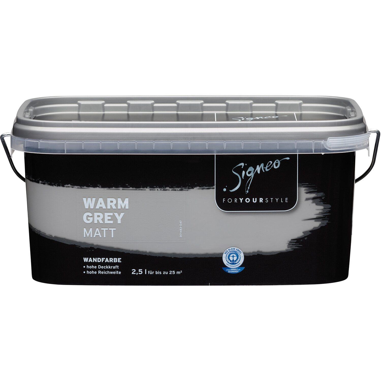 Signeo Bunte Wandfarbe Matt Warm Grey 25 L